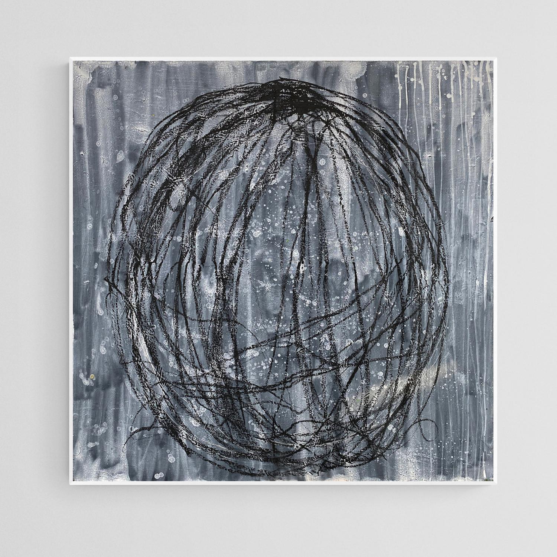 Sanaa Mejjadi-sans Titre-Acrylique et pastel à l'huile sur toile 100X100 cm-2018